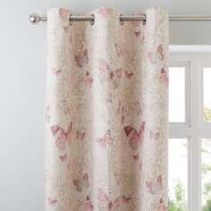 Blush Botanica Butterfly Thermal Eyelet Curtains