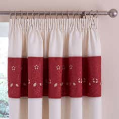 Red Felicity Thermal Pencil Pleat Curtains