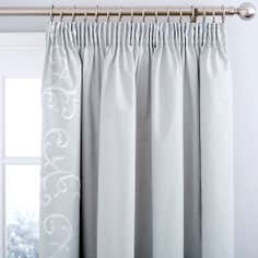 Grey Larna Thermal Pencil Pleat Curtains
