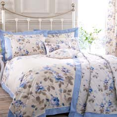Blue Layla Collection Oxford Duvet Cover Set