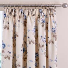 Blue Layla Thermal Pencil Pleat Curtains