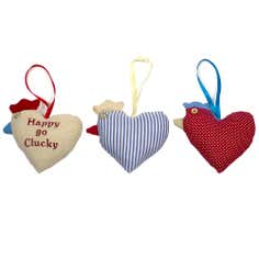 Set of 3 Hanging Chicken Heart Cushions