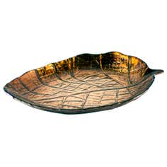 Rustic Ramble Collection Bronze Glass Leaf Plate