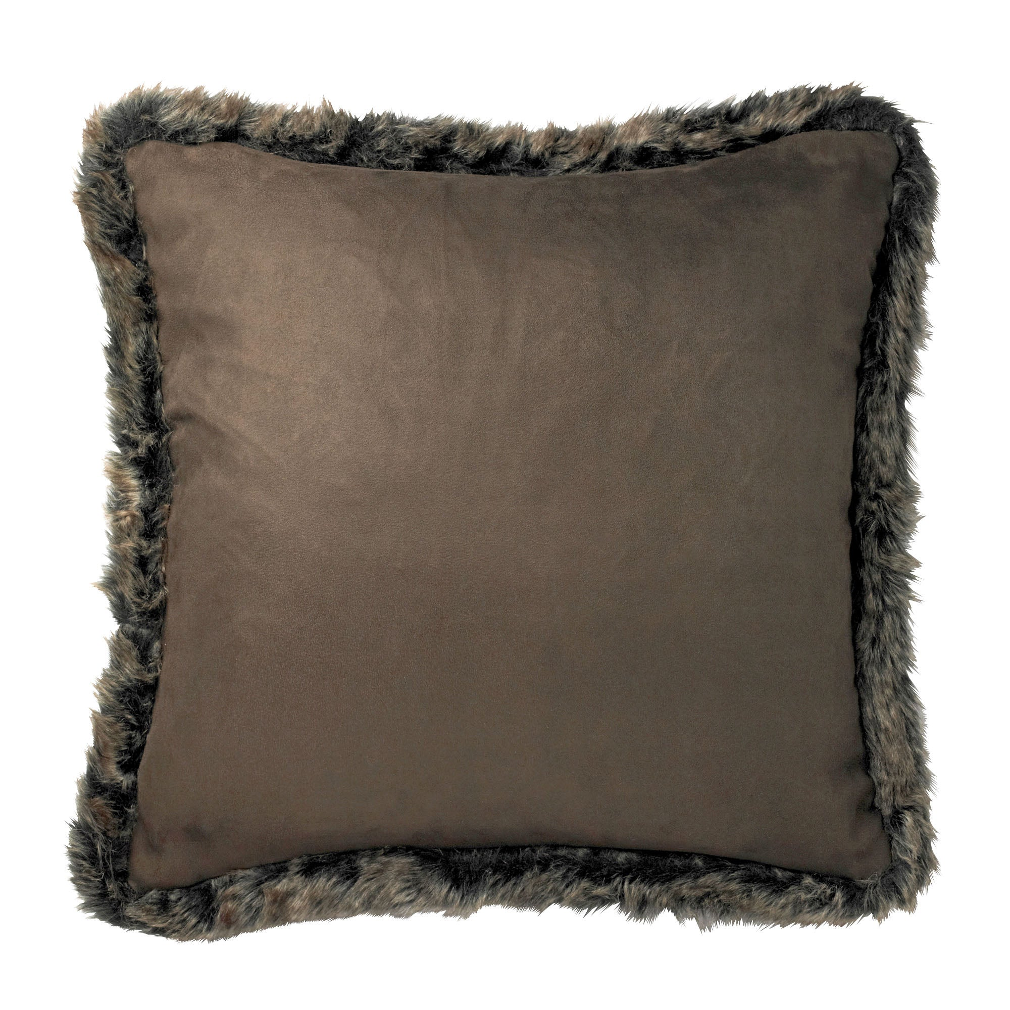 Sueded Fur Trim Cushion
