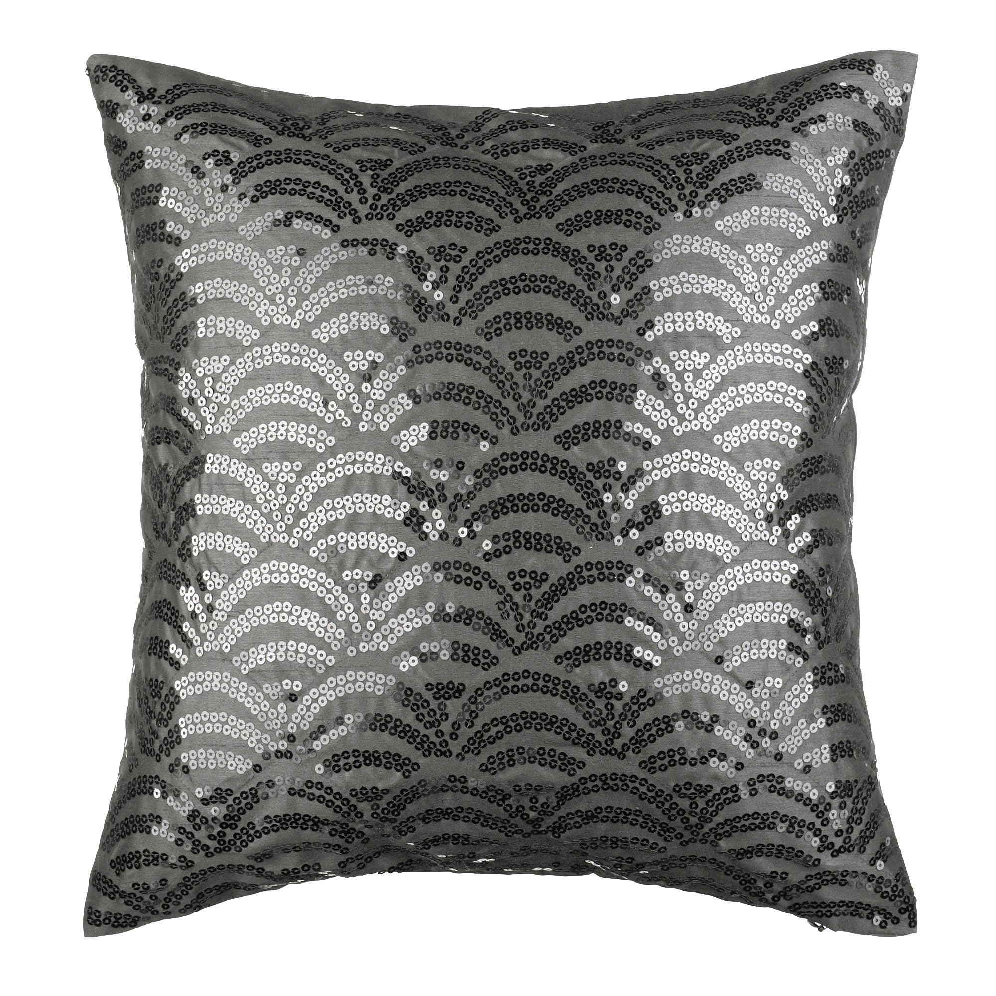 Black Sequin Scallop Cushion