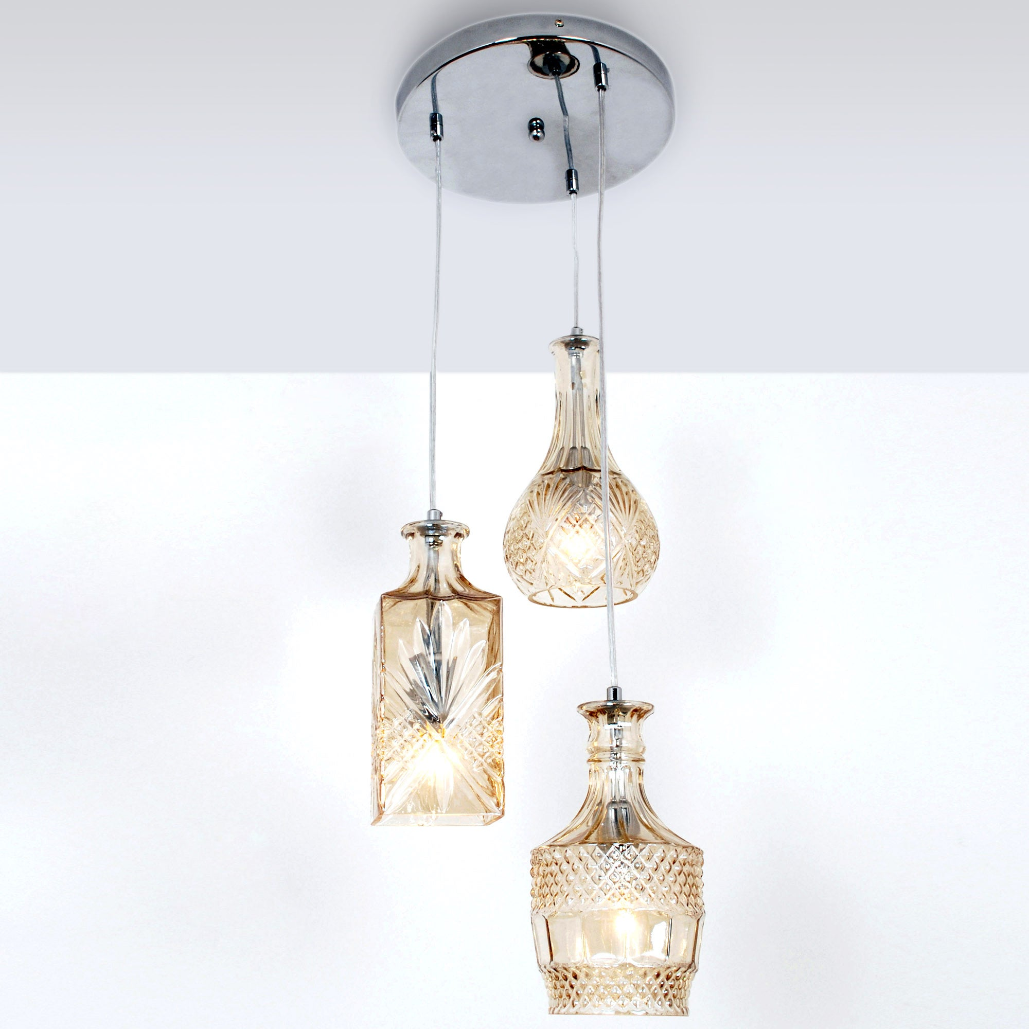 3 Glass Decanter Cluster Ceiling Light Fitting