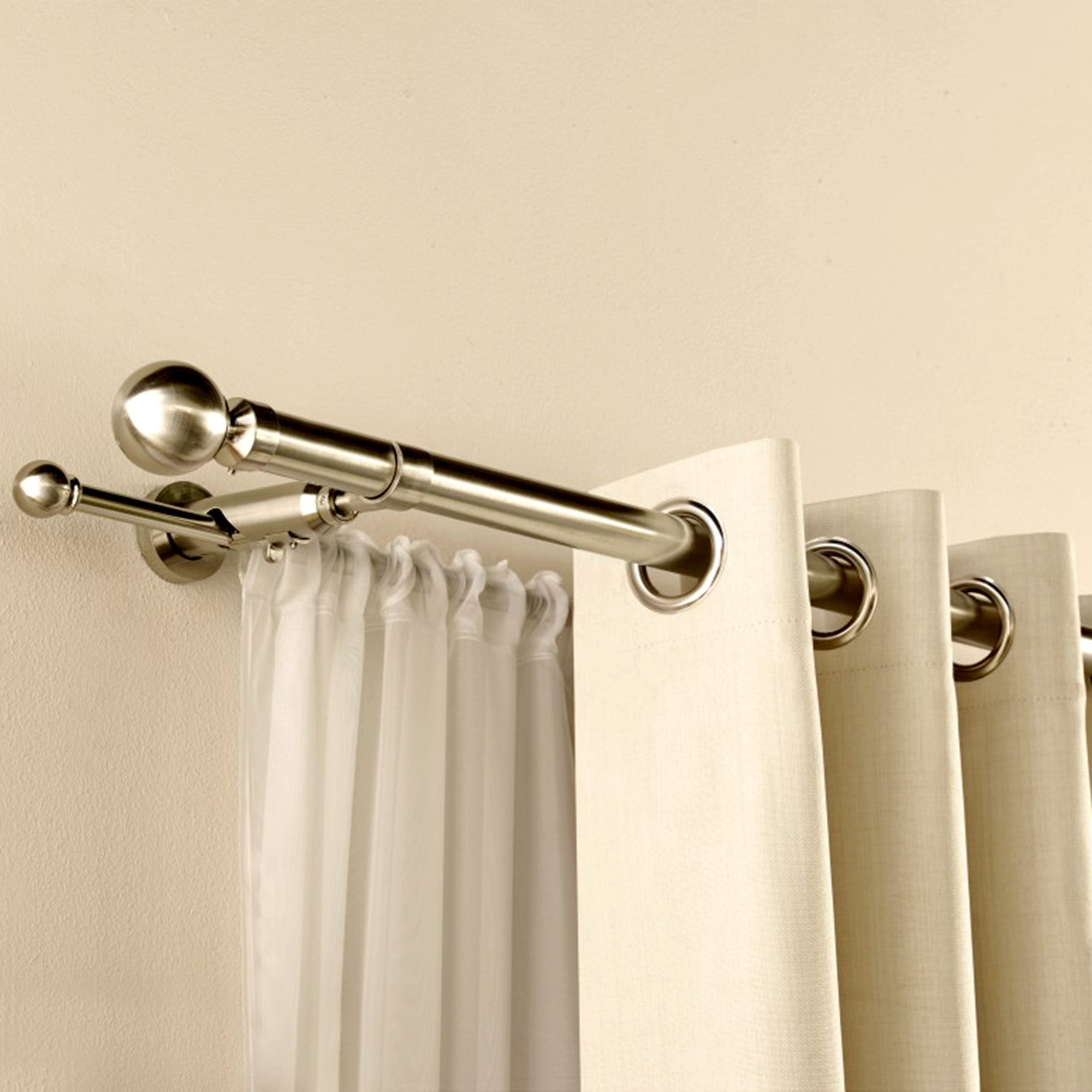 Satin Silver Duo Curtain Pole