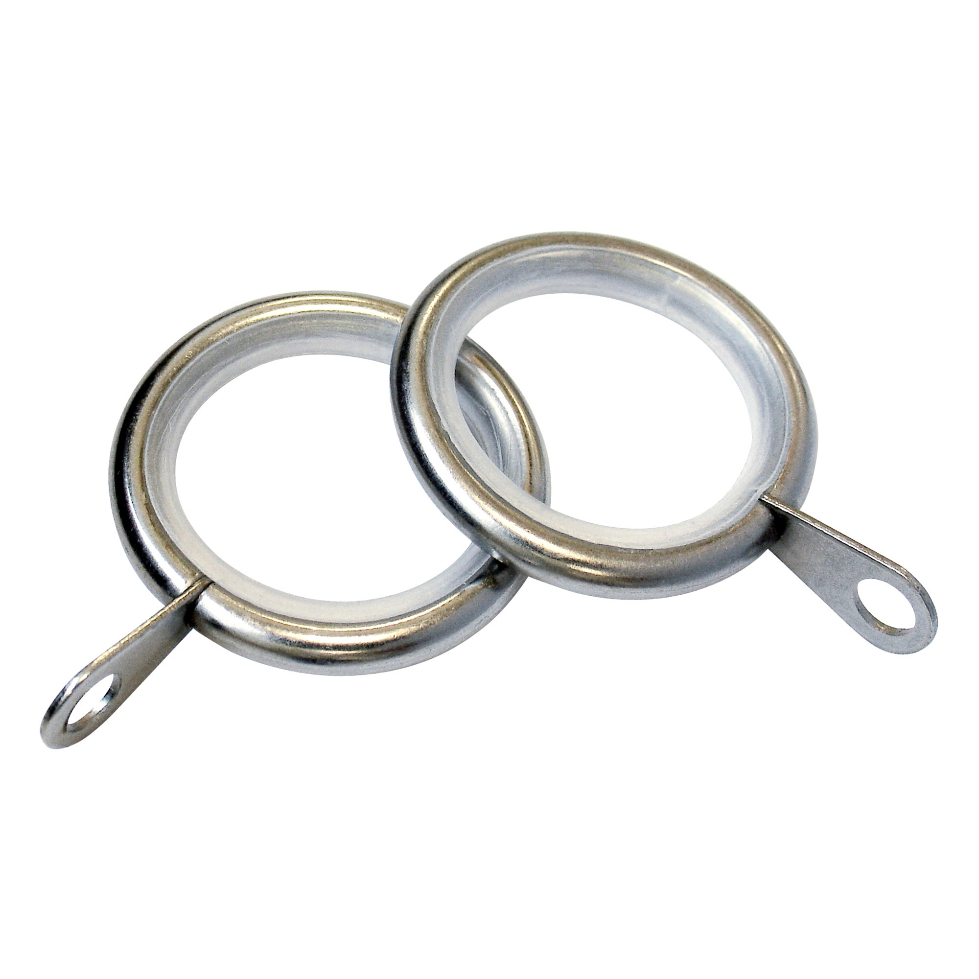 Satin Silver Duo Pole Pack of 4 Lined 13mm Curtain Rings