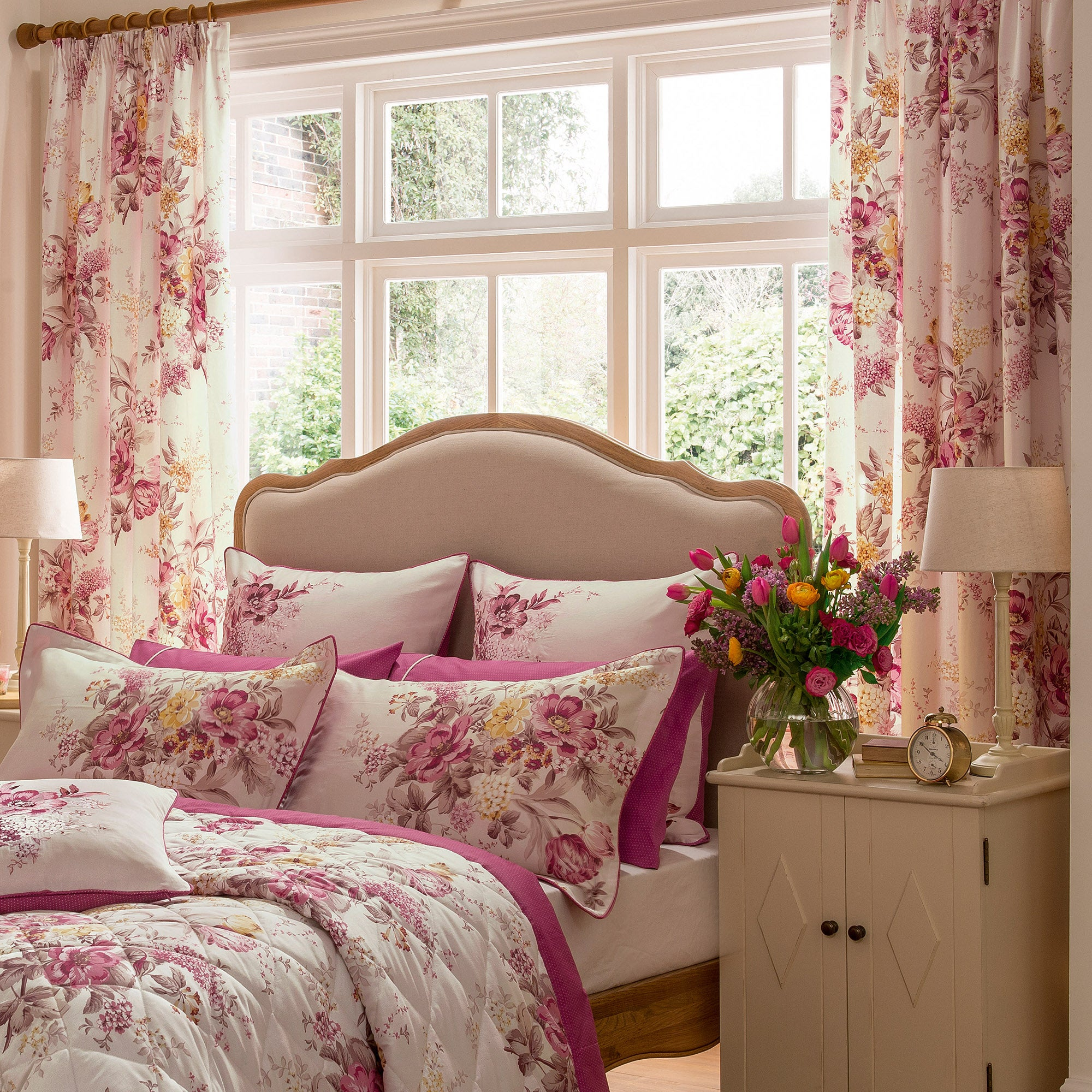 Dorma Pink Camilla Lined Pencil Pleat Curtains