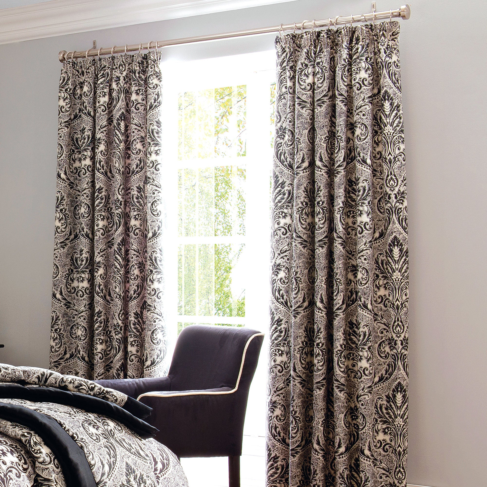 Dorma Black Verona Lined Pencil Pleat Curtains