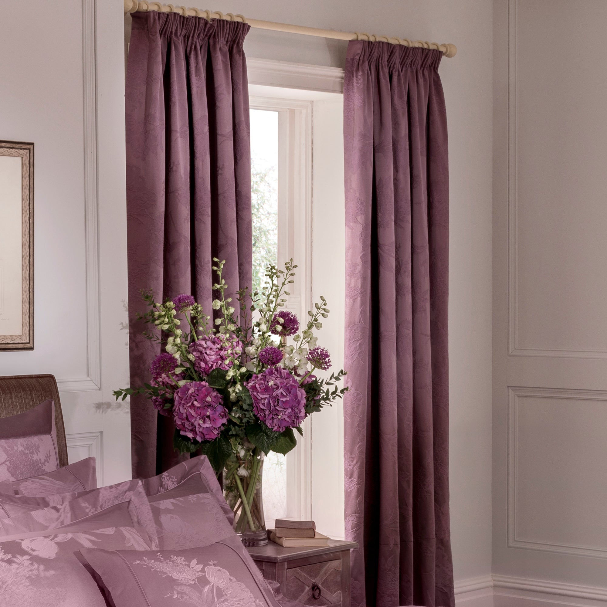 Dorma Plum Jasmina Pencil Pleat Lined Curtains