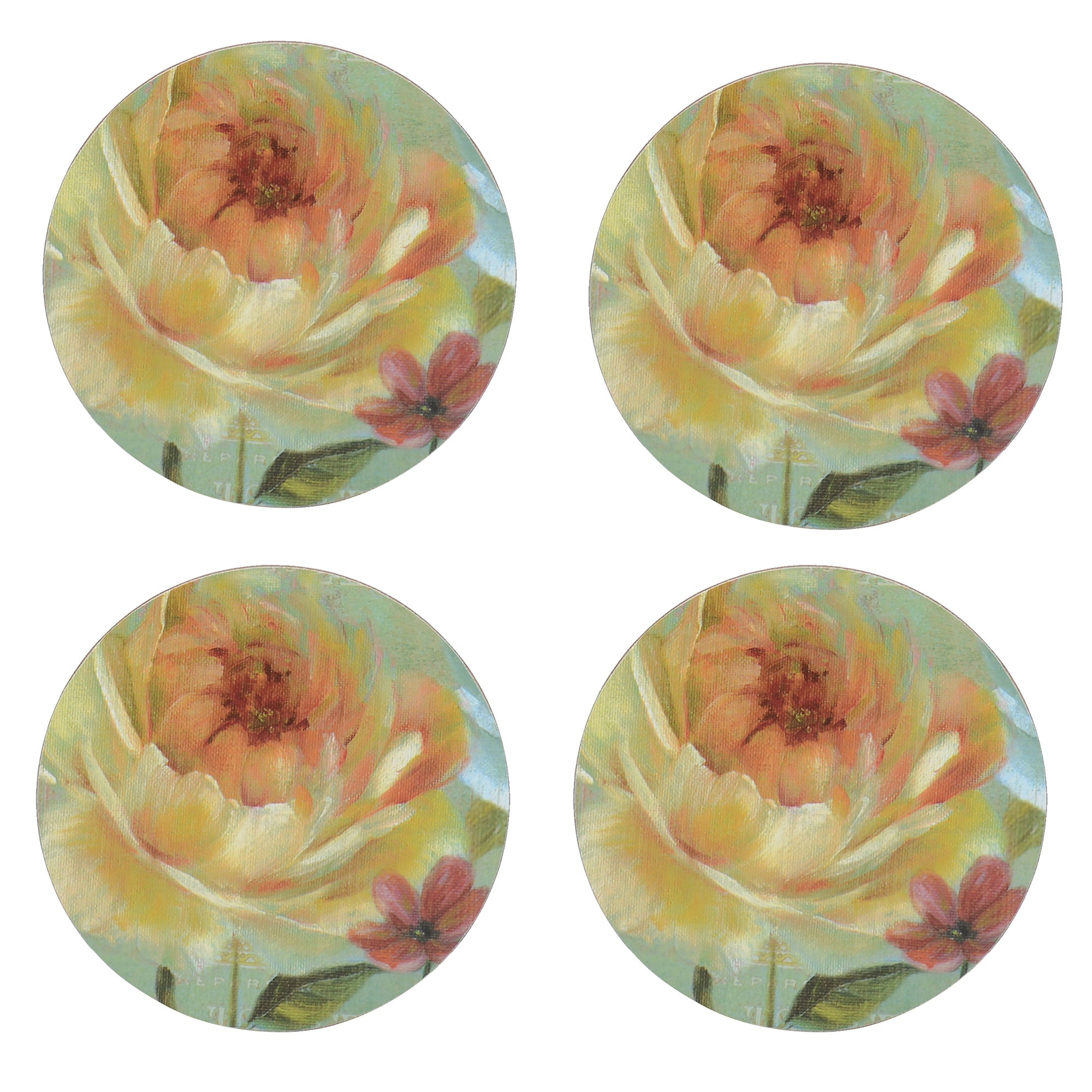 Flora and Fauna Collection Set of 4 Round Floral Coasters