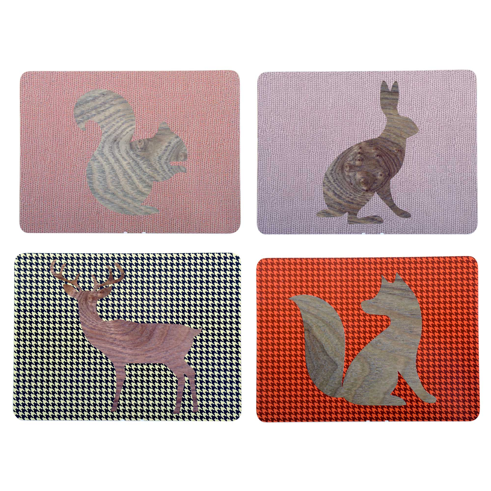 Knitted Animals Set of 4 Placemats