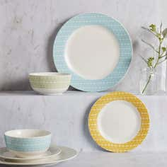 Skandi Collection Geometric 12 Piece Dinner Set