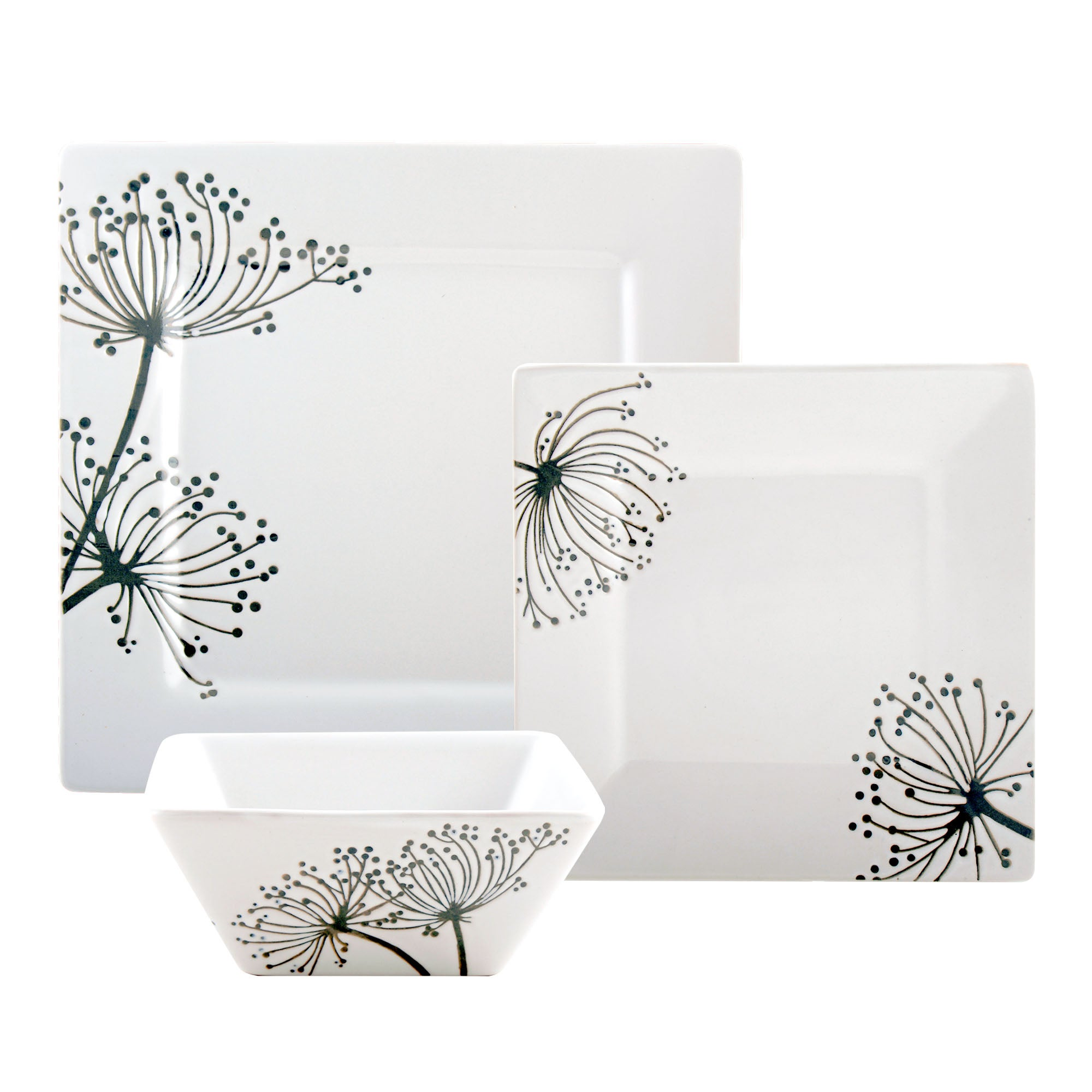 Square Sprig Collection 12 Piece Dinner Set