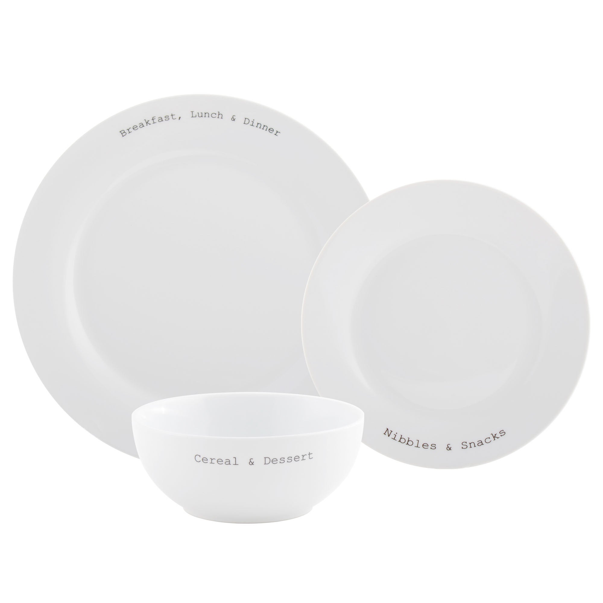 Text Collection 12 Piece Dinner Set