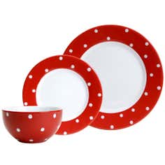 Farmstead Collection Red Dotty 12 Piece Dinner Set