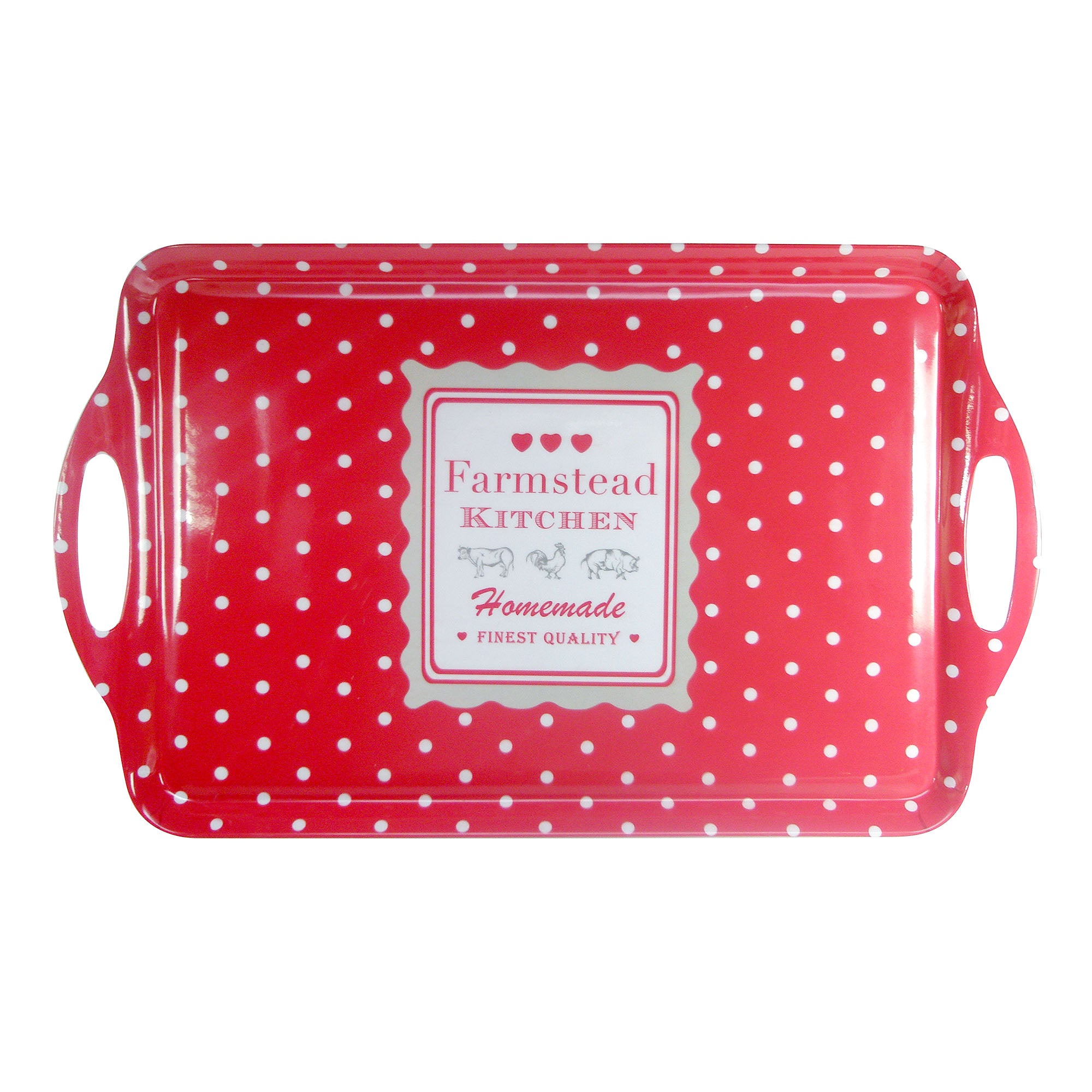 Farmstead Collection Red Dotty Large Tray