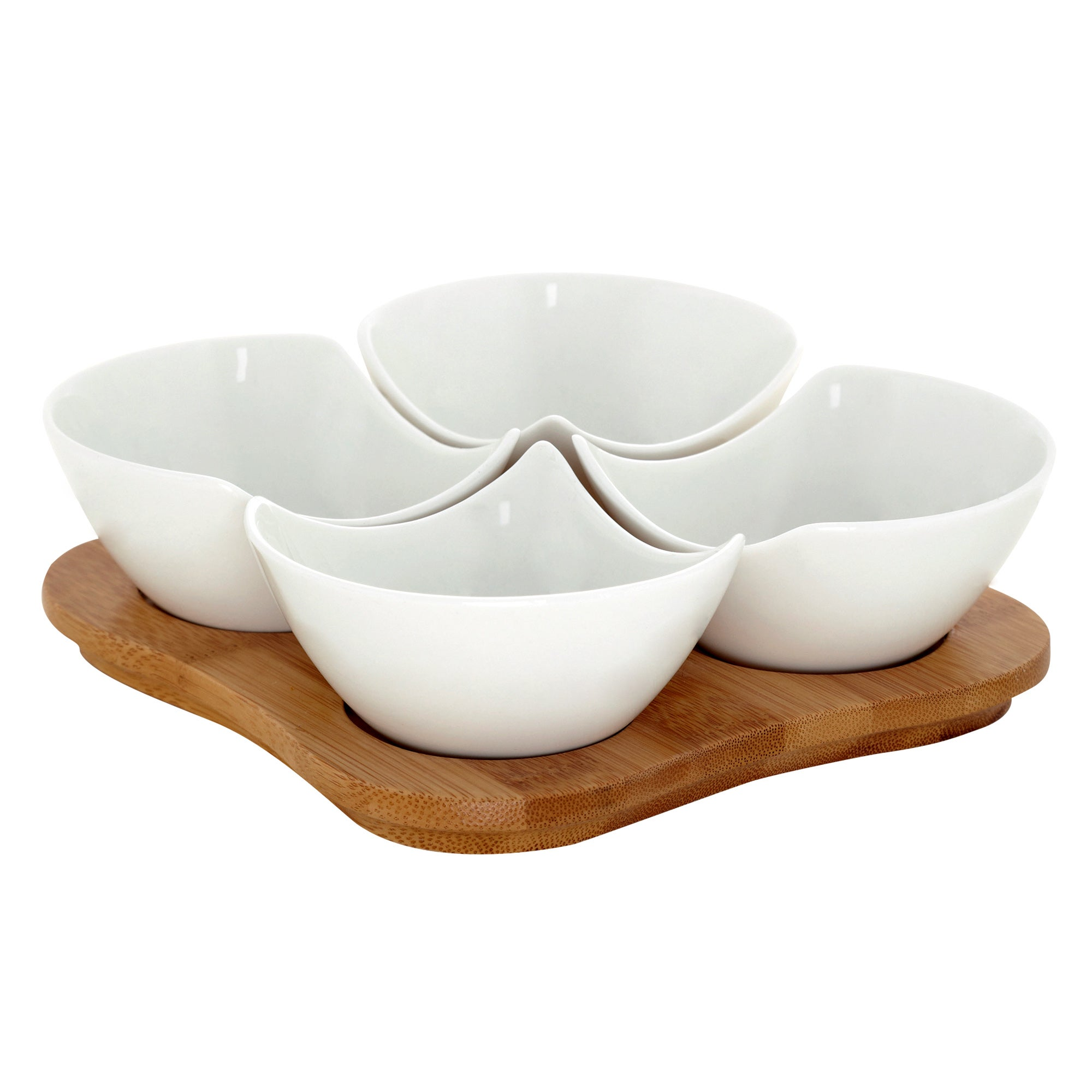 Bamboo Tray With 4 Rounded Dishes