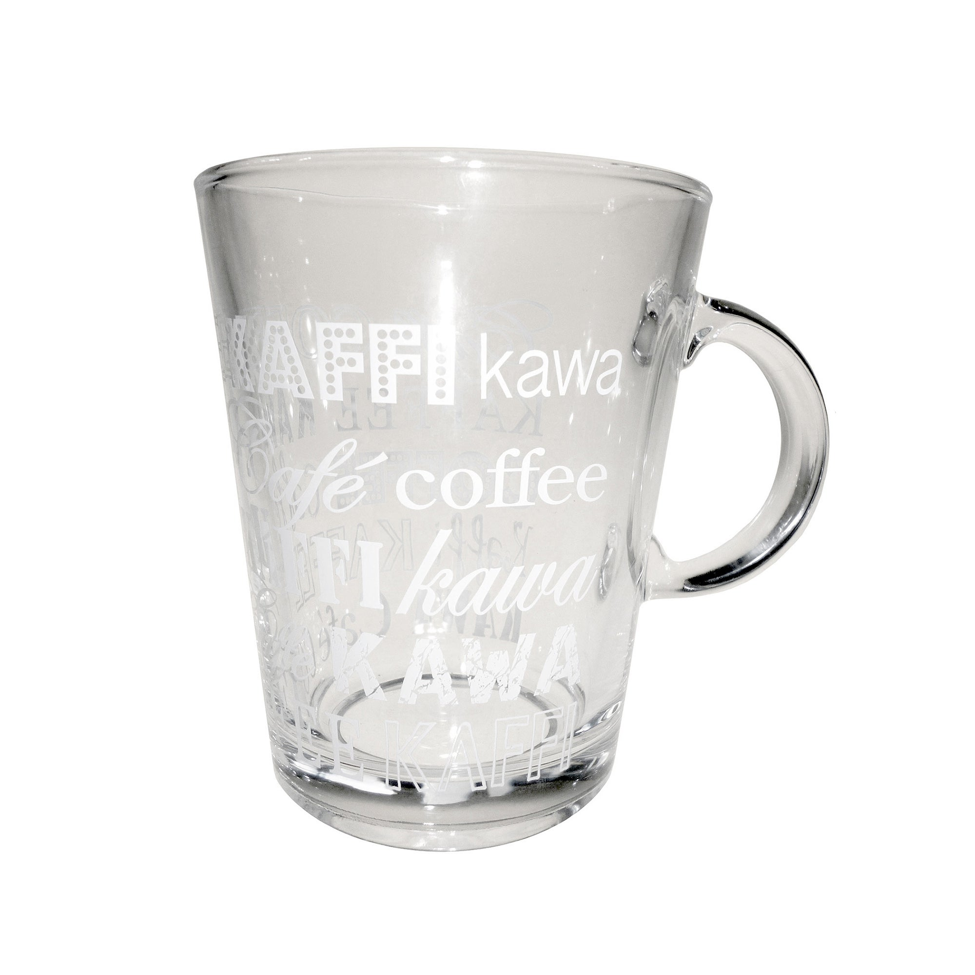 White Printed Word Design Glass Tea Mug