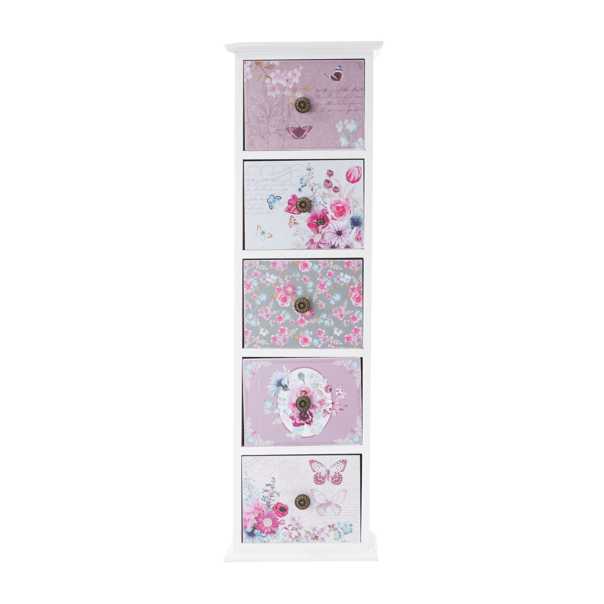 White Flora Collection 5 Drawer Unit