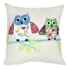 Applique Two Owls Cushion Cover
