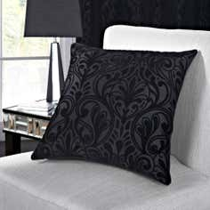 Black Manhattan Flock Collection Cushion