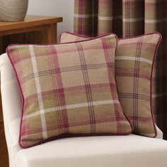 Plum Highland Check Collection Filled Cushion