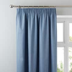 Blue Solar Blackout Pencil Pleat Curtains