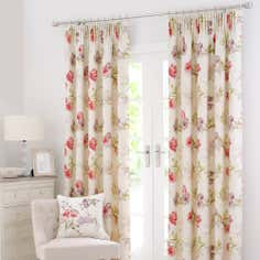 Red Tulip Lined Pencil Pleat Curtains