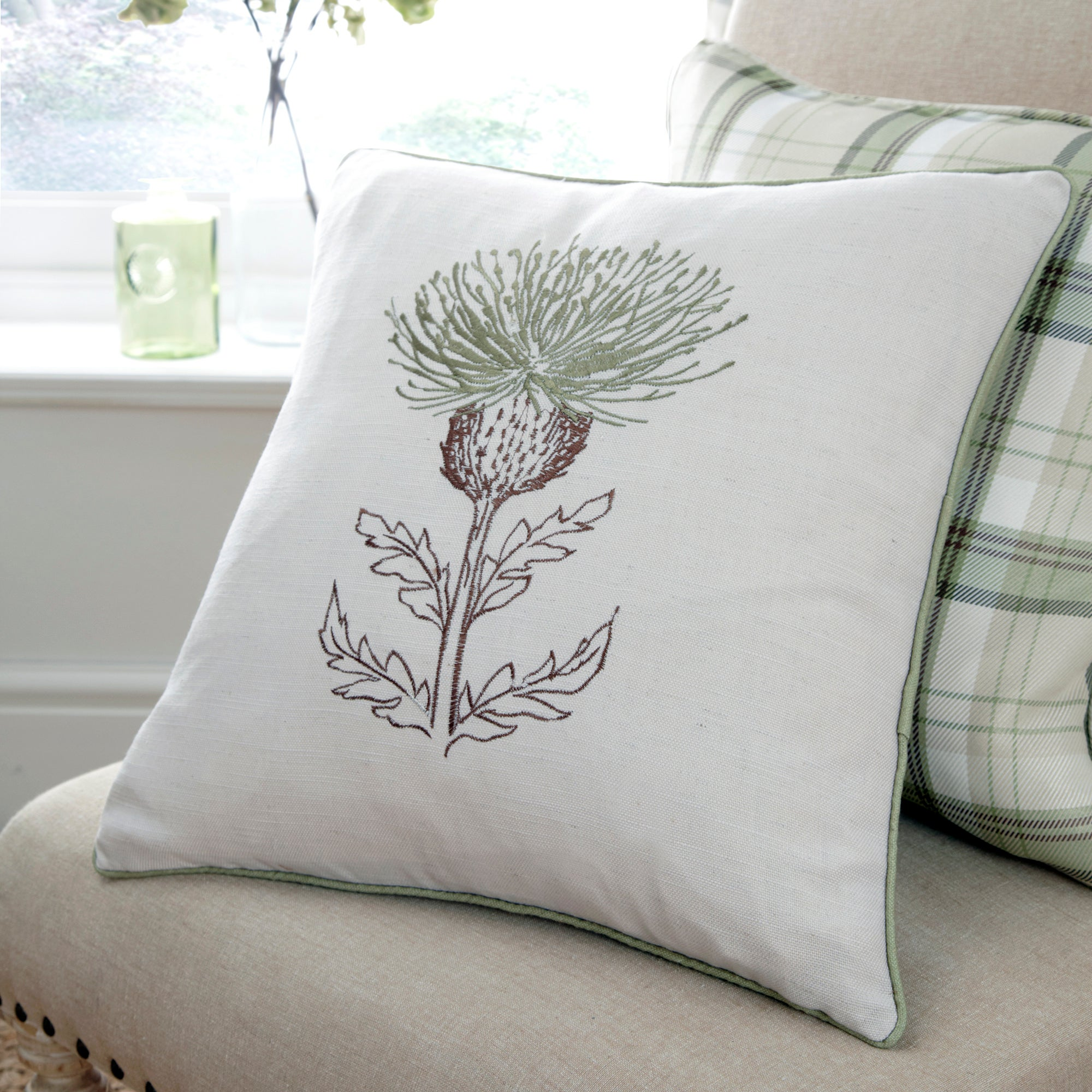 green balmoral collection thistle cushion dunelm. Black Bedroom Furniture Sets. Home Design Ideas