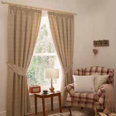 Natural Oxford Lined Pencil Pleat Curtains