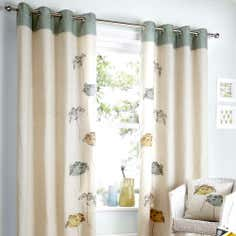 Teal Carmela Lined Eyelet Curtains