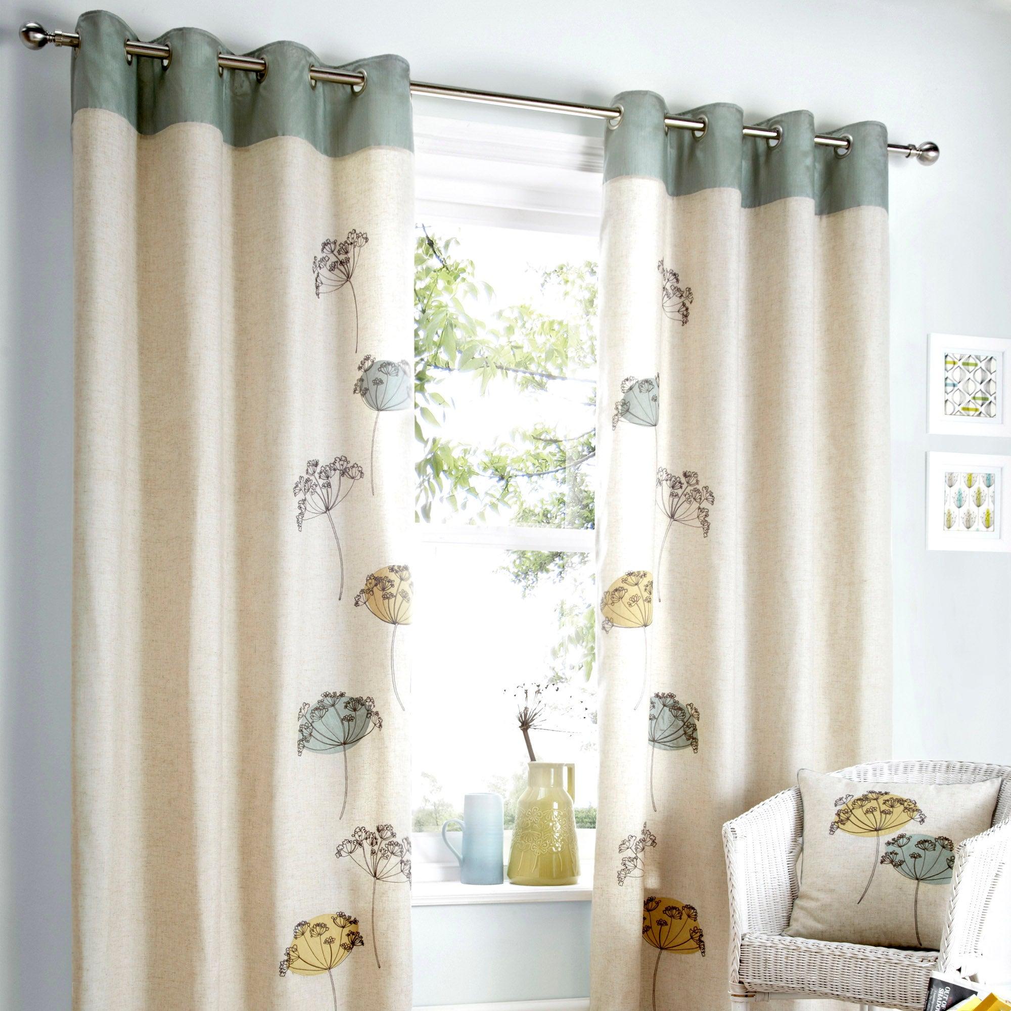 Natural Carmela Lined Eyelet Curtains