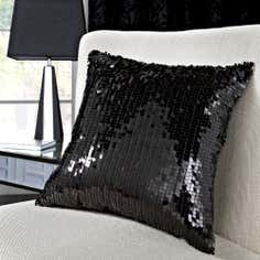 Black Manhattan Flock Collection Sequin Cushion