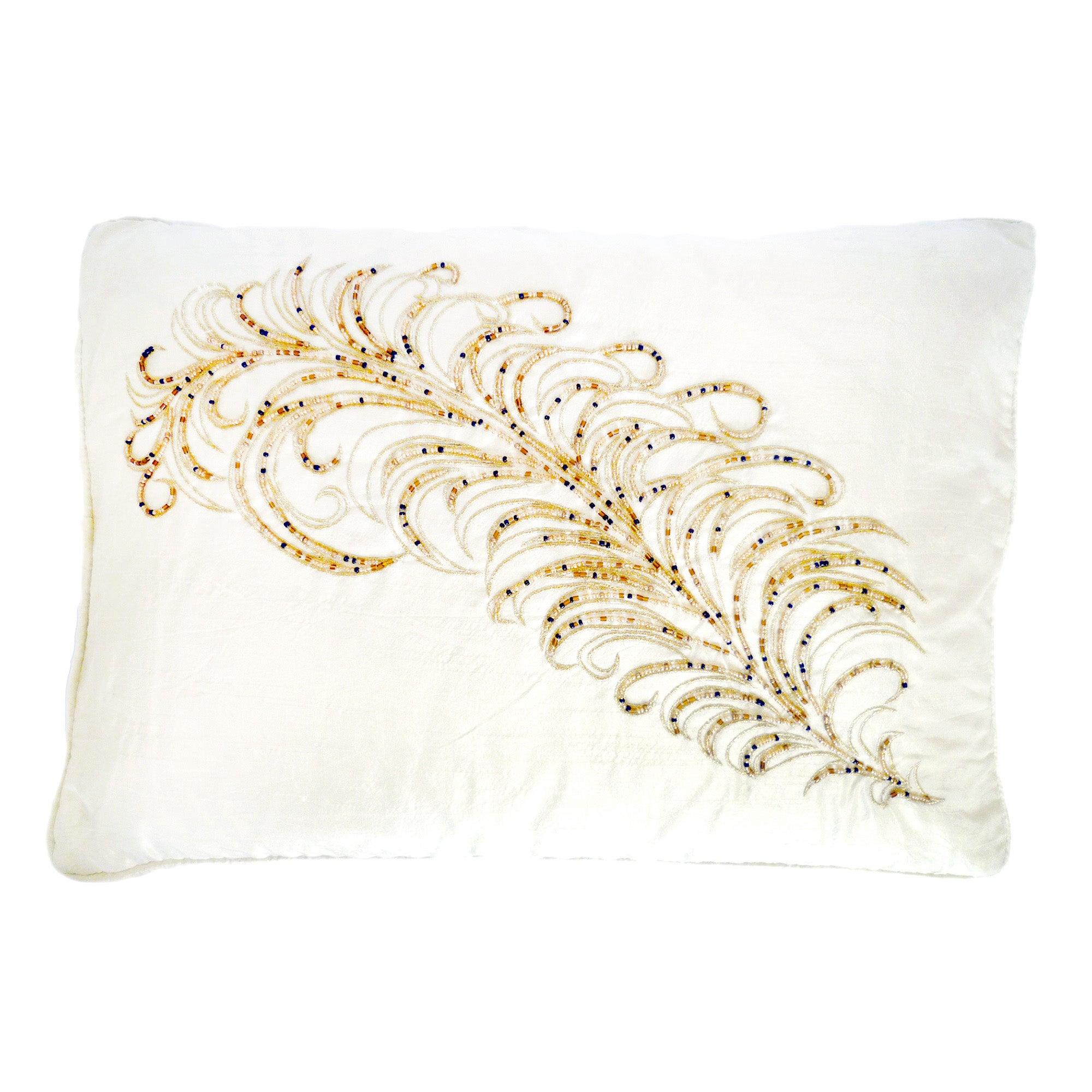 Beaded Feather Boudoir Cushion