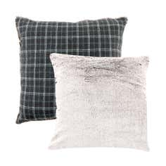 Checked Faux Fur Cushion
