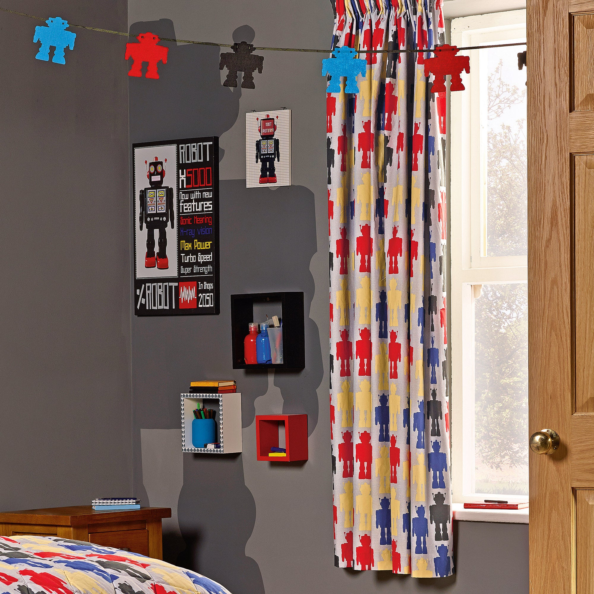 Kids Robot Blackout Pencil Pleat Curtains