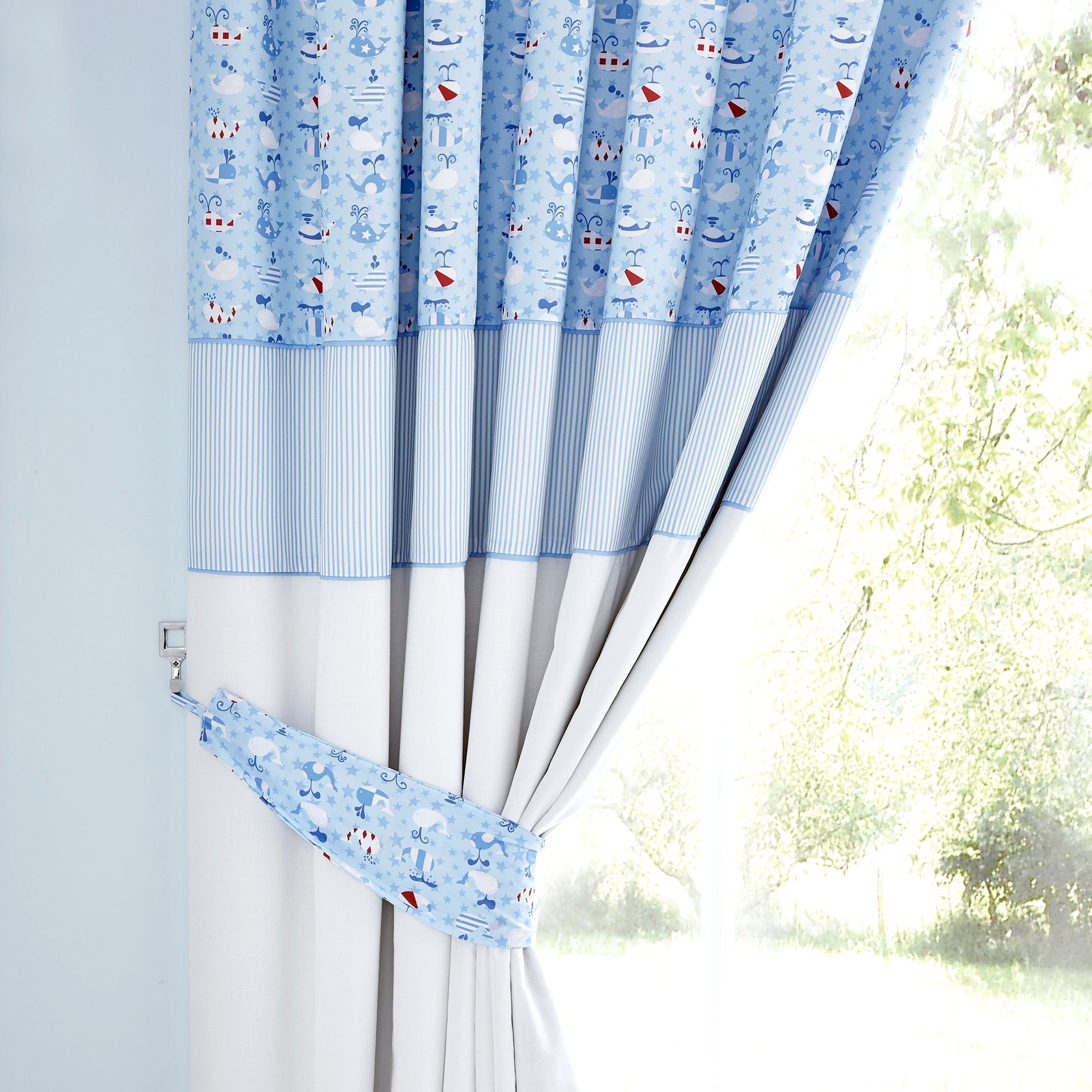 Kids Blue Nautical Nursery Blackout Pencil Pleat Curtains