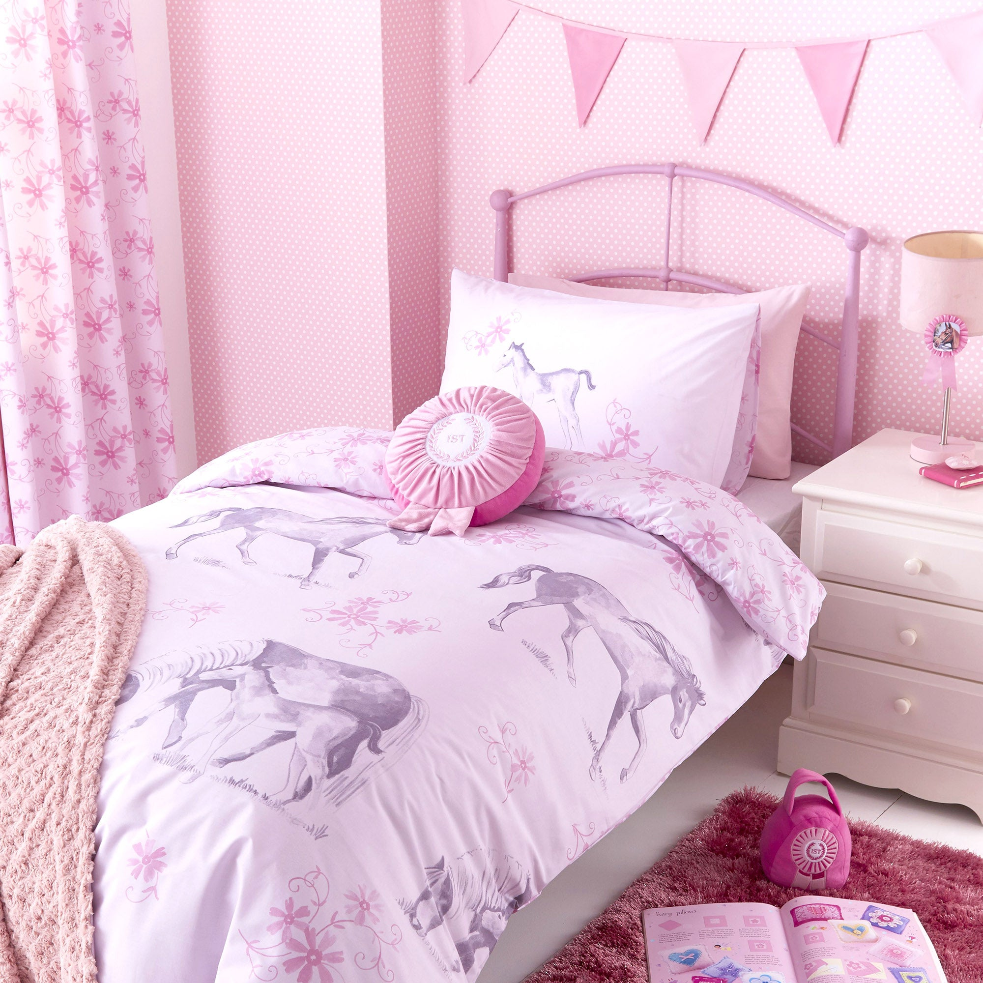Kids Pink Ponies Collection Bed Set