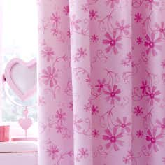 Kids Pink Ponies Blackout Eyelet Curtains