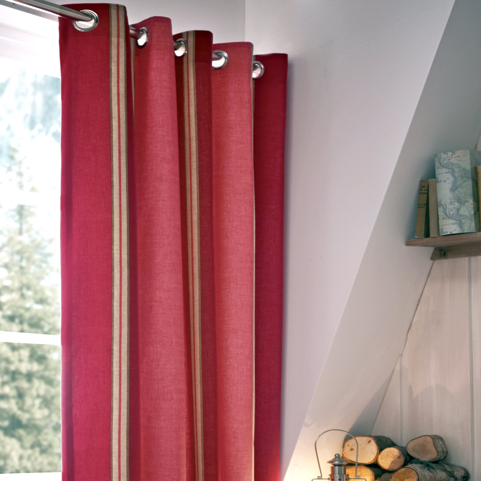 Red Blake Thermal Eyelet Curtains