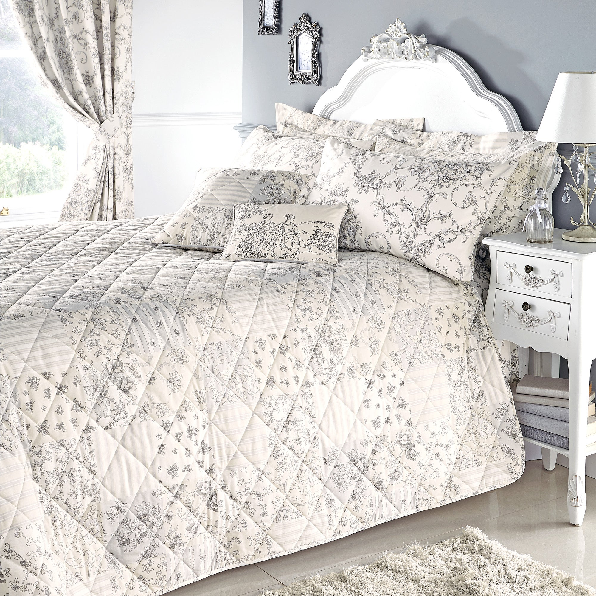 Grey Frances Collection Bedspread