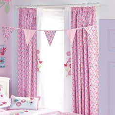 Kids Pink Songbird Lined Pencil Pleat Curtains