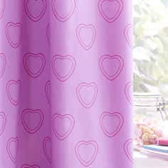 Kids Purple Sweetie Loveheart Blackout Eyelet Curtains