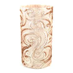 Blush Sequin Glass Hurricane Candle Holder