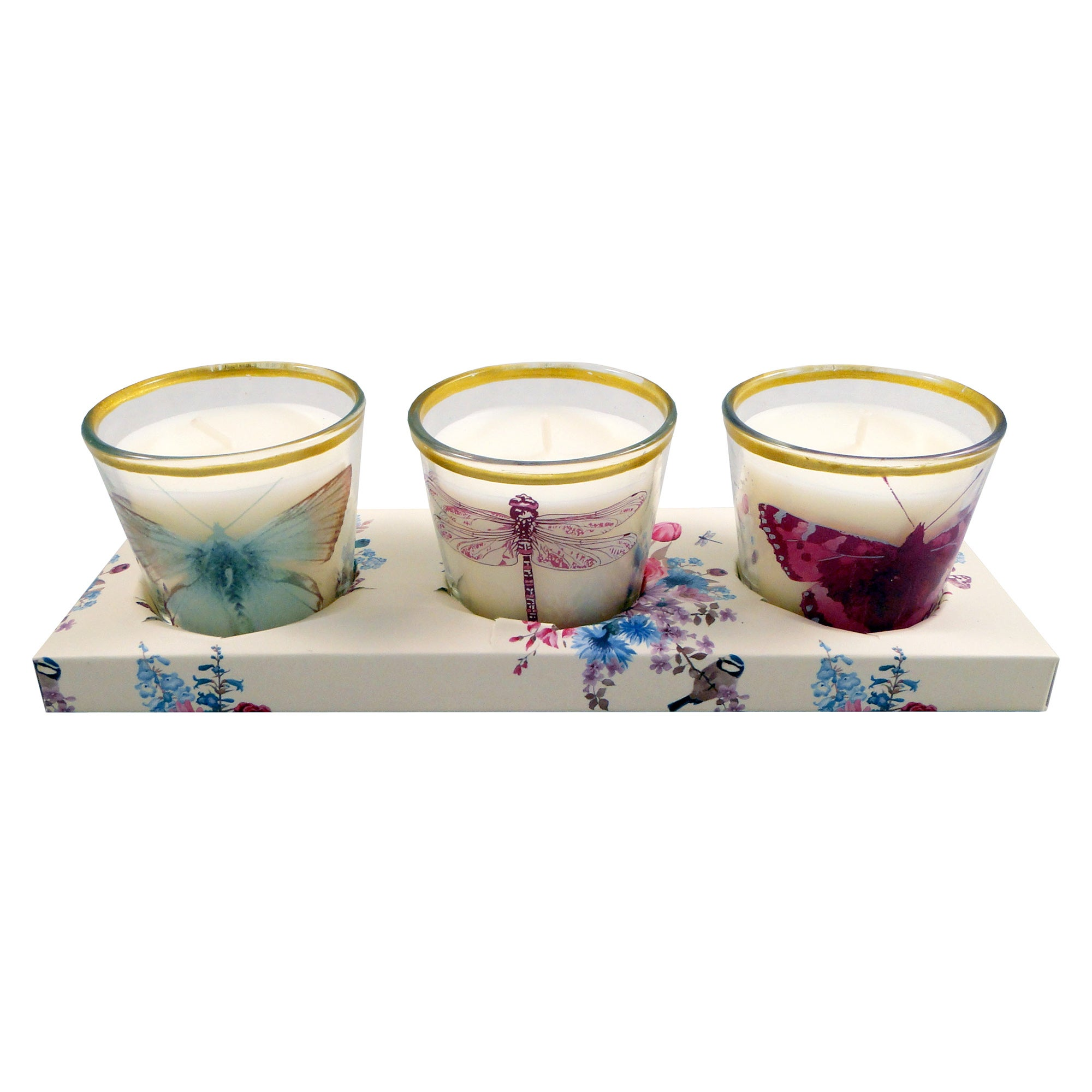 Flora and Fauna Collection Set of 3 Votive Candles