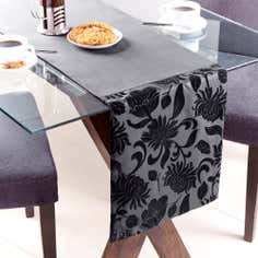 Black Flock Floral Table Runner
