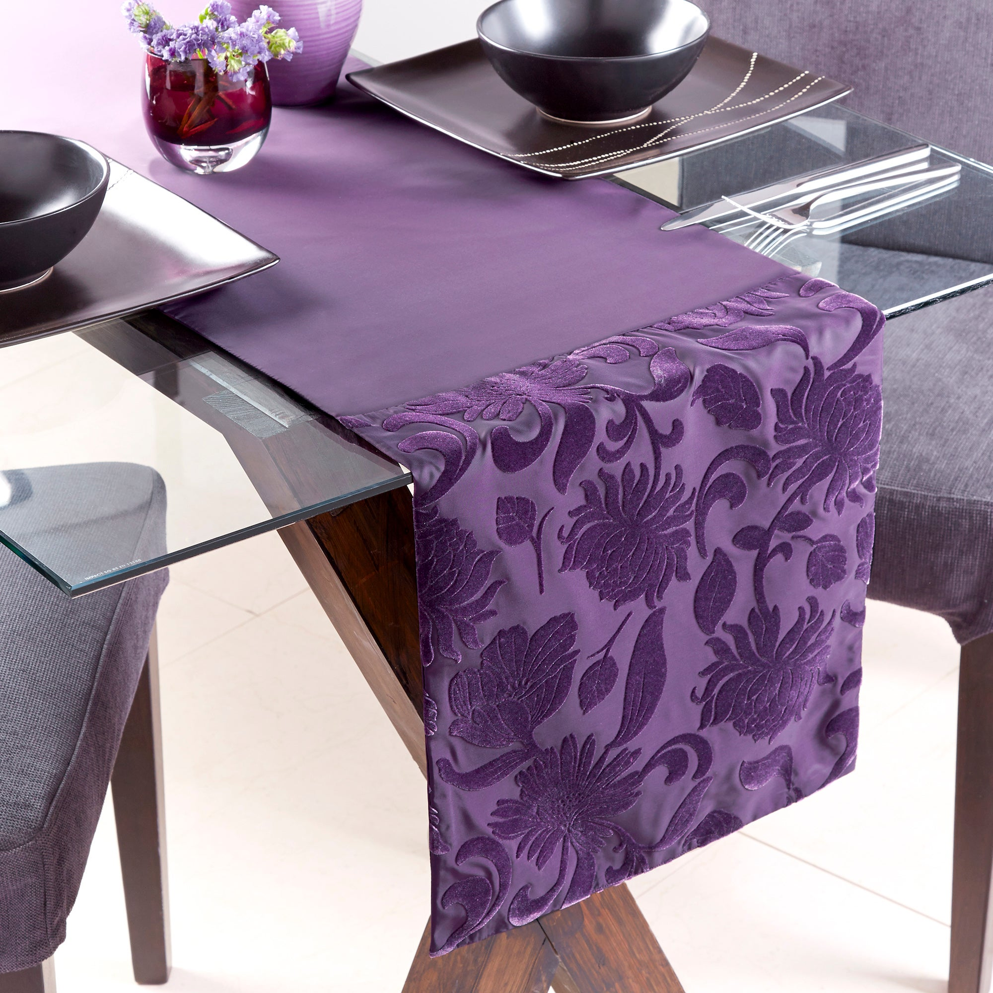 Plum Flock Floral Table Runner