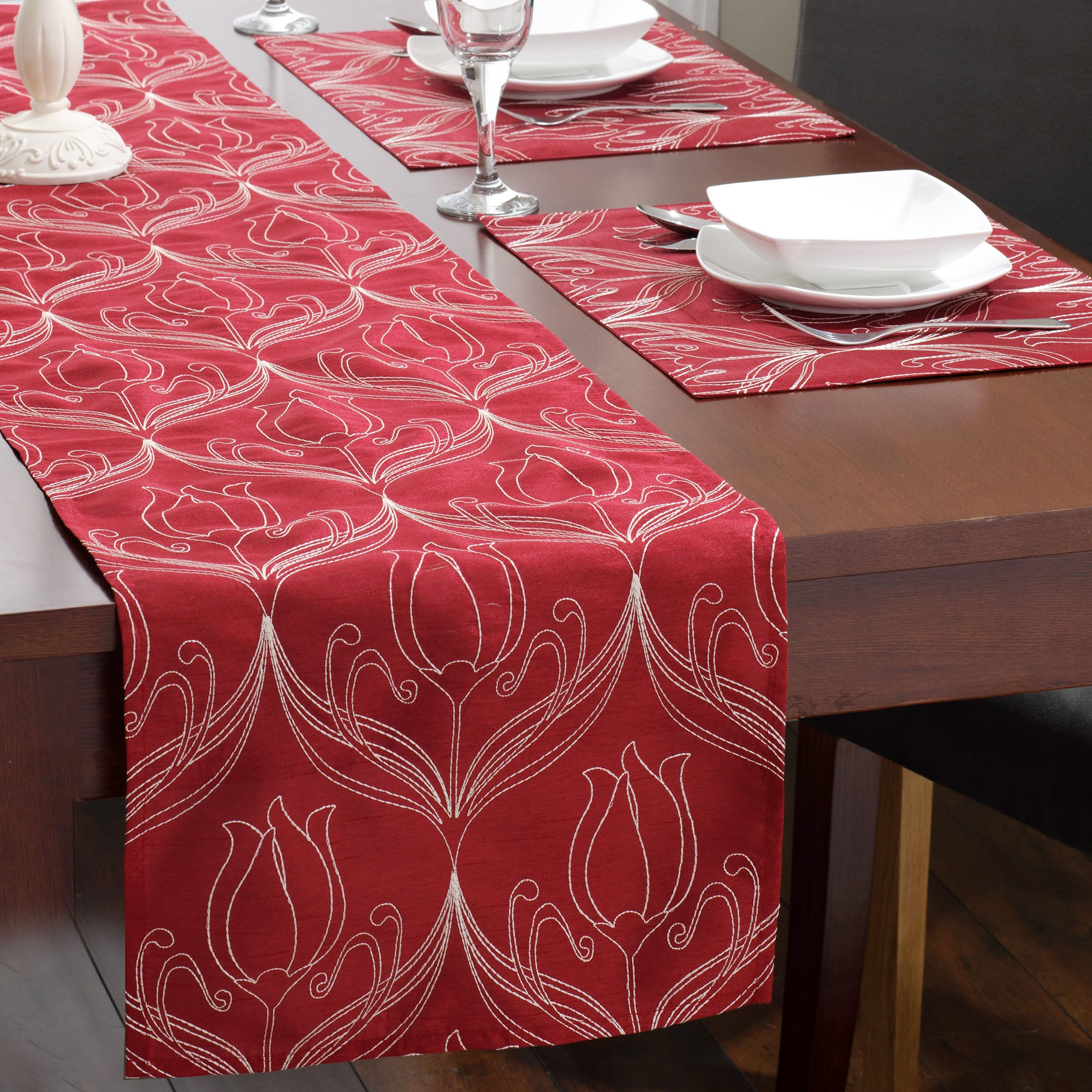 Red Lalique Collection Table Runner